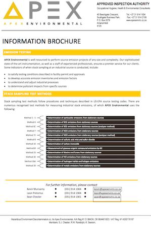 Stack emission testing brochure picture