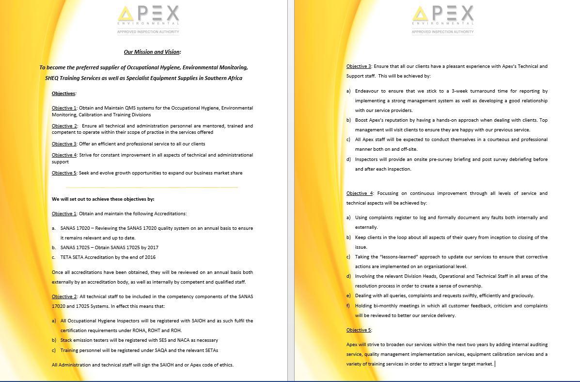 Apex Environmental Mission & Vision