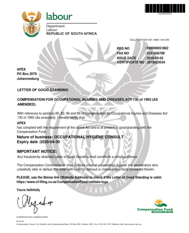 Department of Labour Letter of Good Standing
