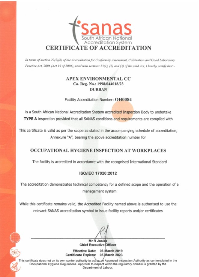 SANAS Certificate of Accreditation 2023